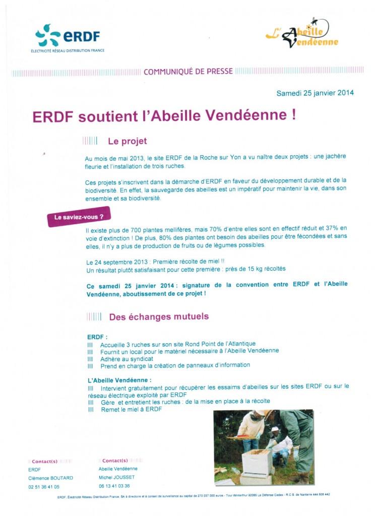 Partenariat ERDF Abeille Vendéenne